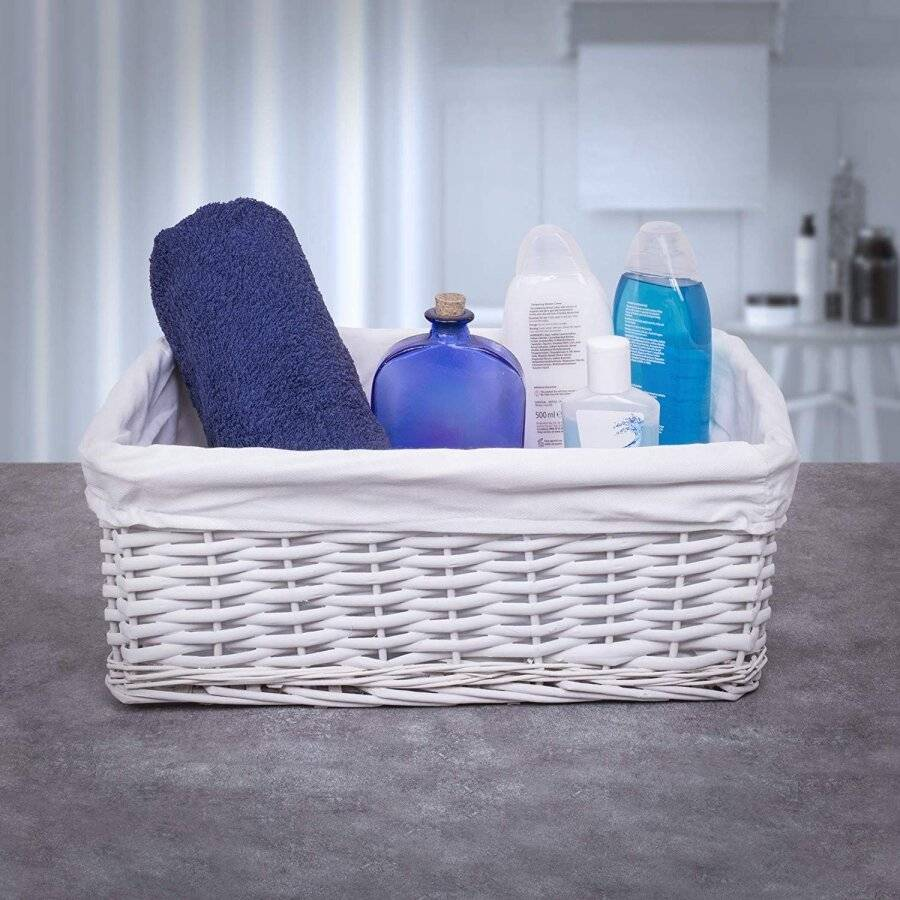 Woodluv Large White Wicker Storage Basket With White Removable Lining