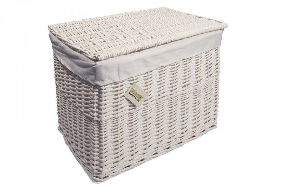 Woodluv Large White Wicker Storage Trunk With Lid & Removable Lining