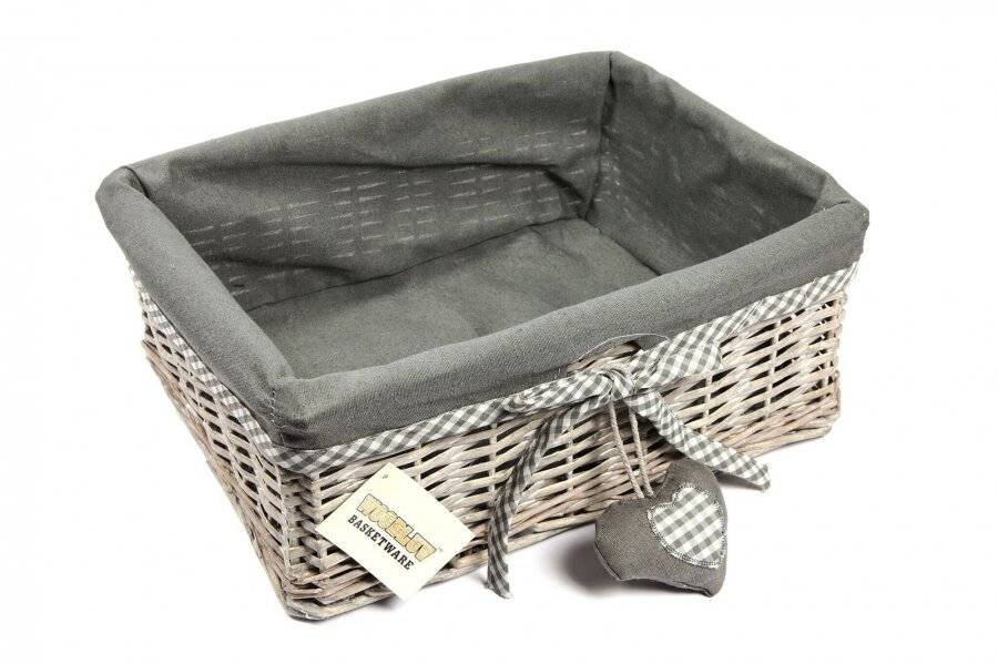 Woodluv Large Wicker Storage Shelf Basket With Removable Lining - Grey