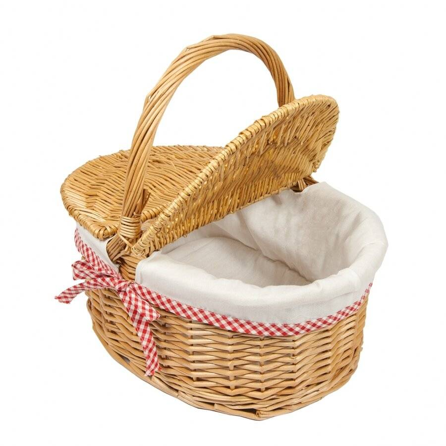 Woodluv Lined Oval Natural Willow Picnic Hamper Basket With Handle