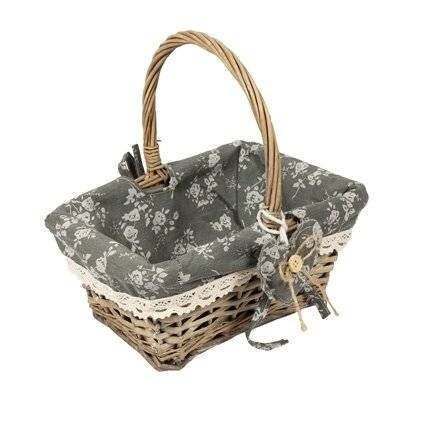 Woodluv Vintage Rectangular Lined Wicker Basket With Handles - Grey
