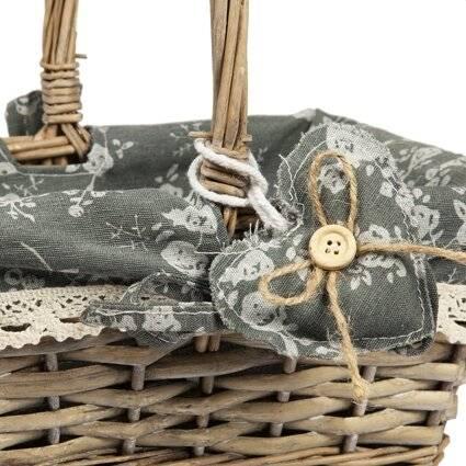 Woodluv Lined Vintage Grey Rectangular Wicker Basket With Long Handles