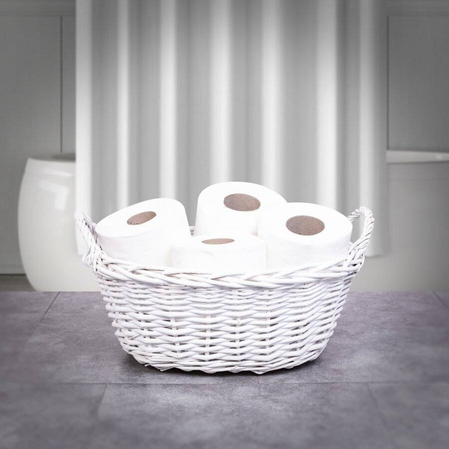 Woodluv Wicker Oval Storage Gift Hamper Basket With Handles, White