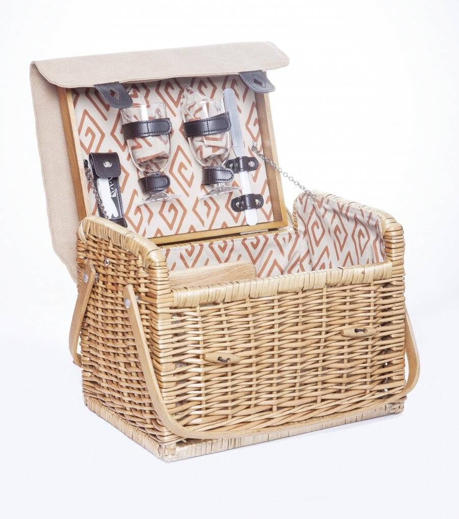 Woodluv Lined Wicker Picnic Basket For 2 With Accessories - Natural