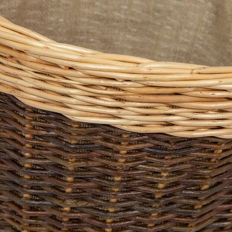 Woodluv Wicker Round Lined Log Basket With Handle - Natural/Dark Brown