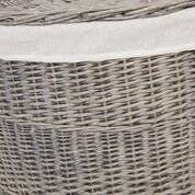 Woodluv lined Willow Medium Antique Washed Corner Laundry Basket, Smoke