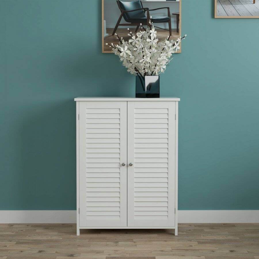 WoodLuv Louvered Freestanding MDF Storage Cabinet - White