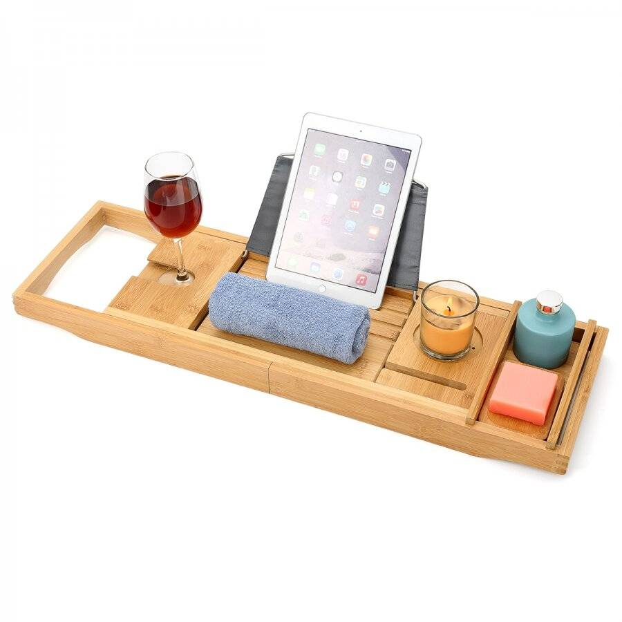 Woodluv Luxurious Natural, Expandable Bamboo Wood Bath Bridge Caddy