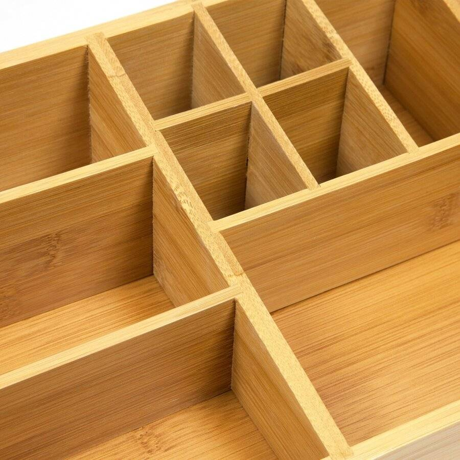 Woodluv Luxury 9 Section Bamboo Wood Desktop Stationery Organizer