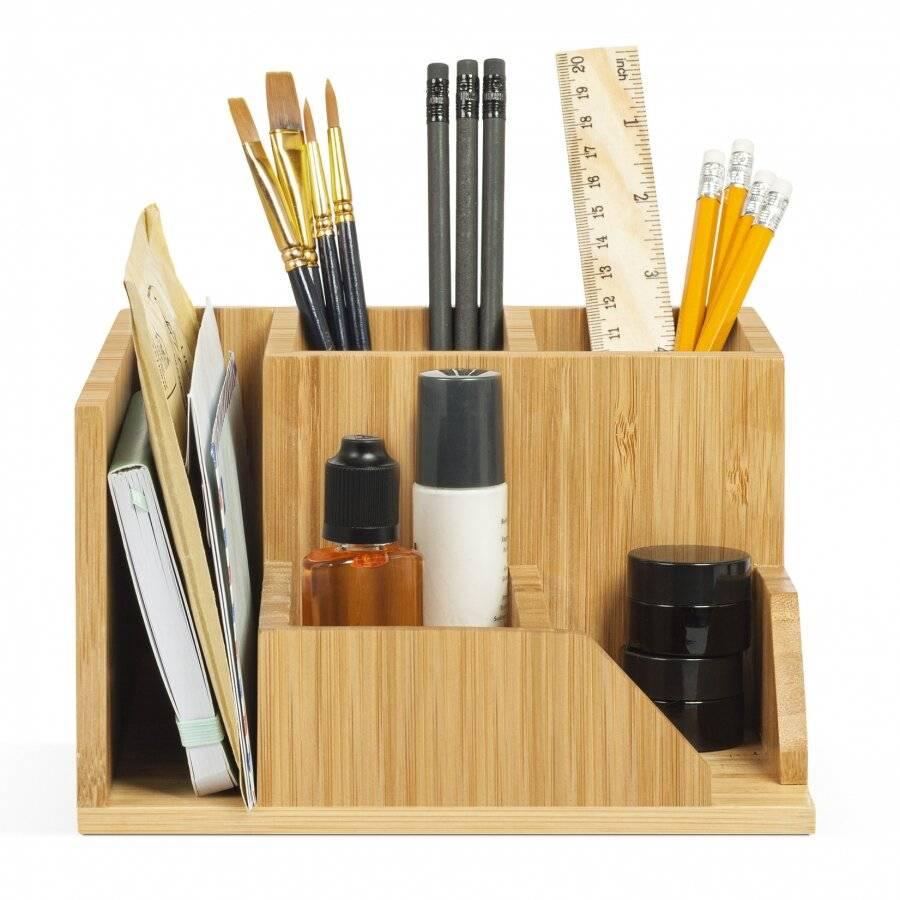 Woodluv Luxury Bamboo Wood Desk Top Stationery Organizer