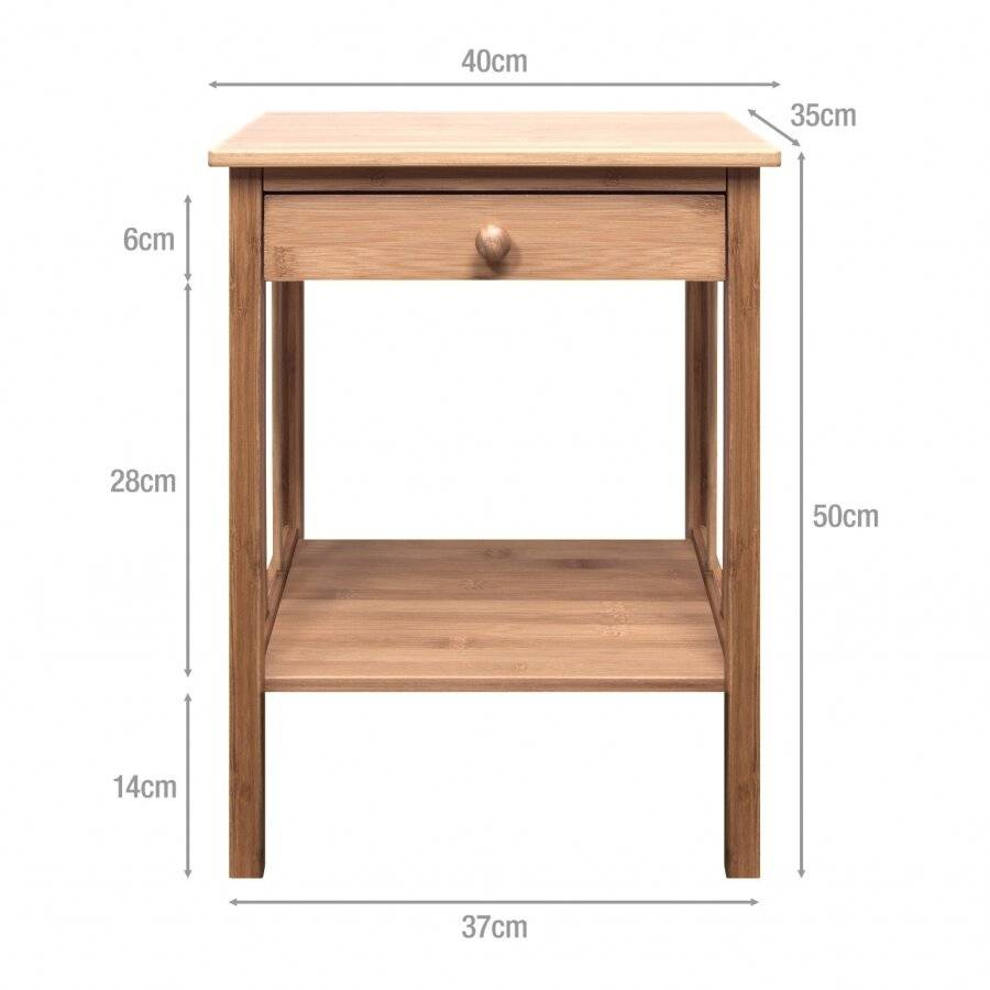 Woodluv Luxury Bedside Bamboo Wood Storage Cabinet With Drawer