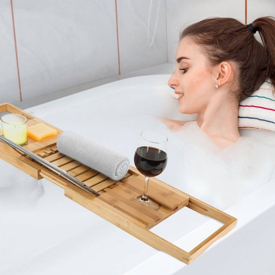 Woodluv Luxury Natural Expandable Bamboo Wood Bath Caddy