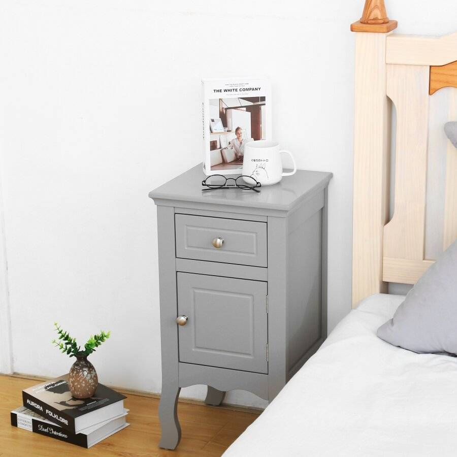 Woodluv MDF Bedside Storage Cabinet With a Drawer and Cupboard - Grey