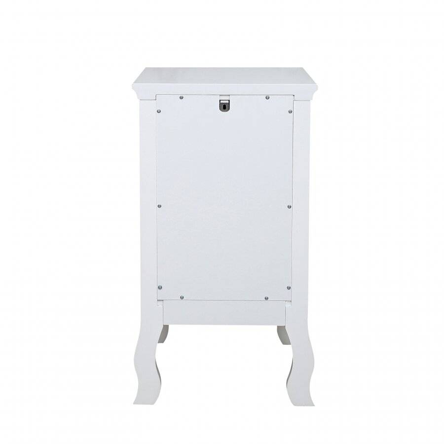 Woodluv MDF Bedside Storage Cabinet With a Drawer and Cupboard - White