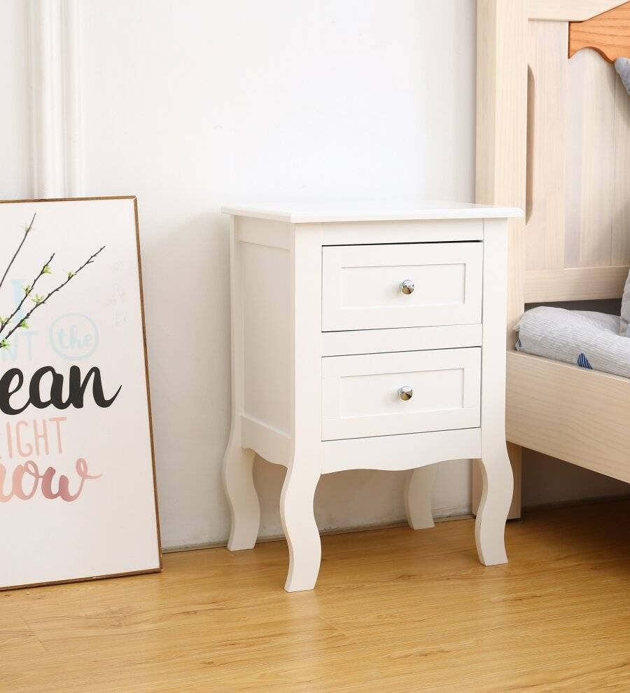Woodluv MDF Bedside Table unit With Two drawers - White