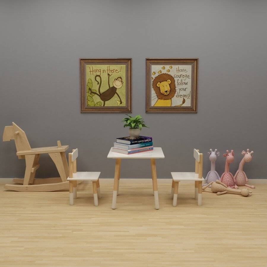 Woodluv MDF Childrens Wooden Table Desk and Chair Set, White