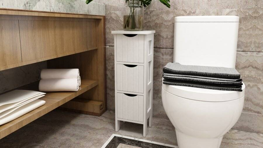 Woodluv MDF Freestanding Bathroom Storage Unit with 3 Drawers - White