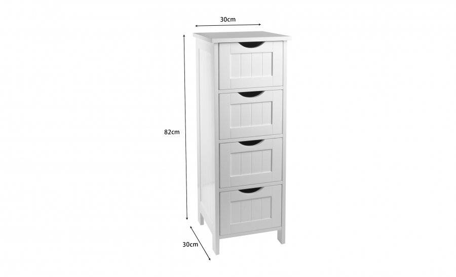 Woodluv MDF Freestanding Bathroom Storage Unit with 4 Drawers - White