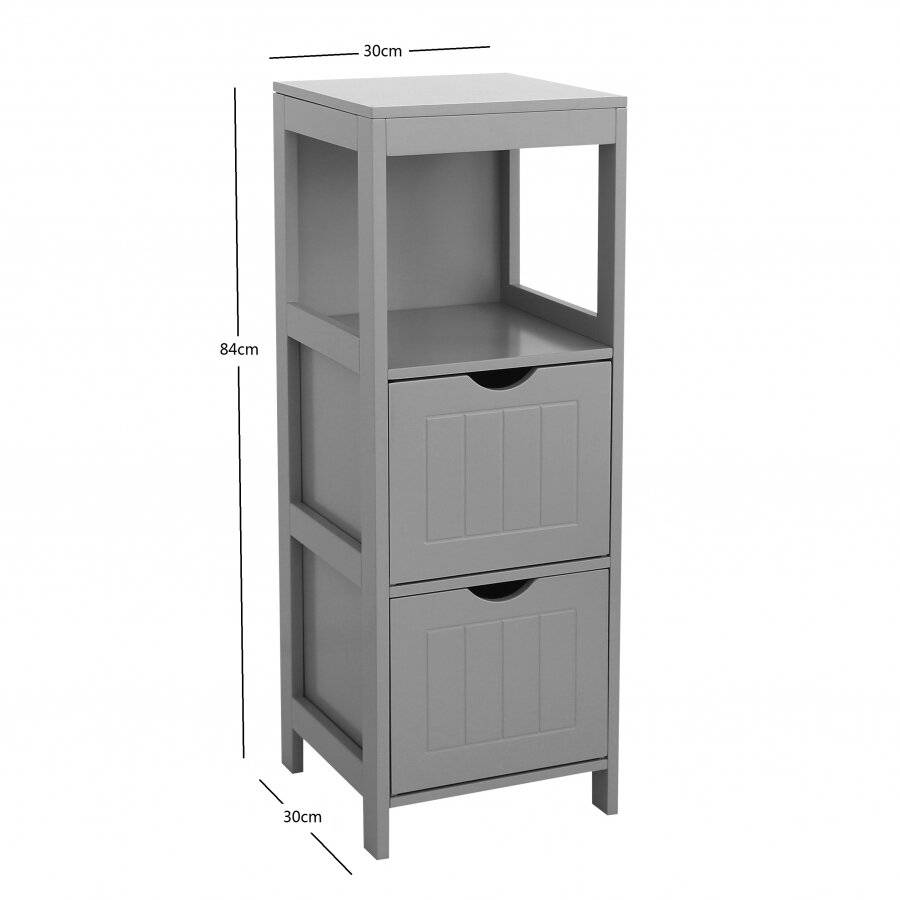 Woodluv MDF Freestanding Bedroom Storage Unit with 2 Drawers - Grey