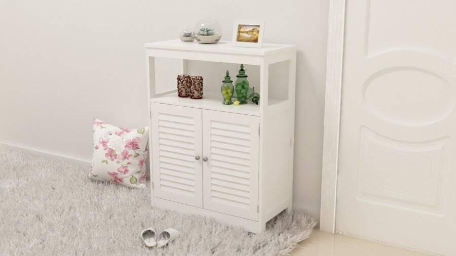 Freestanding MDF Louvered Doors Floor Cabinet Unit - White