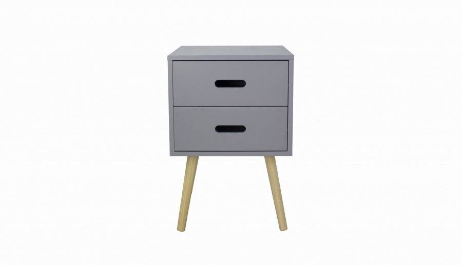 Woodluv MDF Modern 2 Drawer Bedside Side Table, Grey