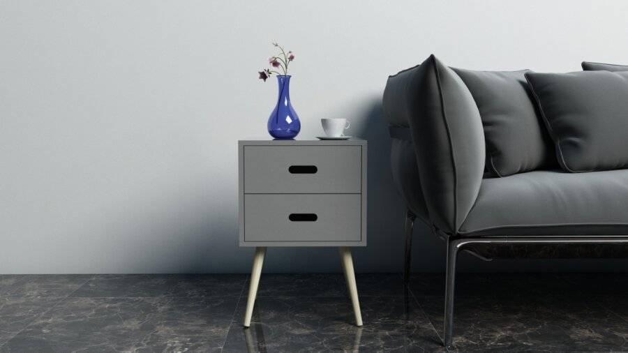 Woodluv MDF Modern 2 Drawer Bedside Side Table, Grey
