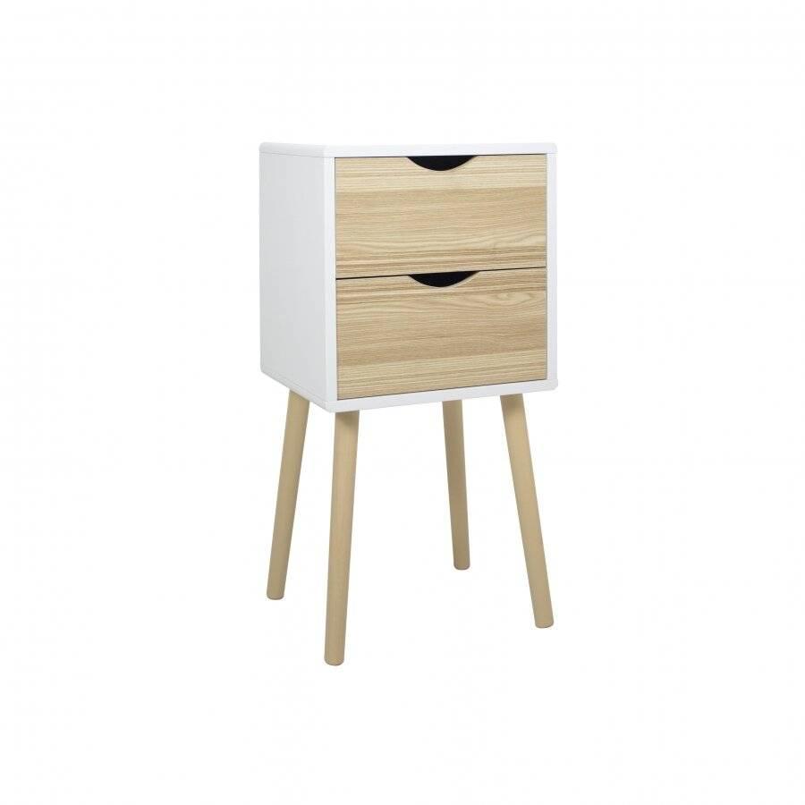 Woodluv MDF Modern 2 Drawer Bedside Side Table, Wood White