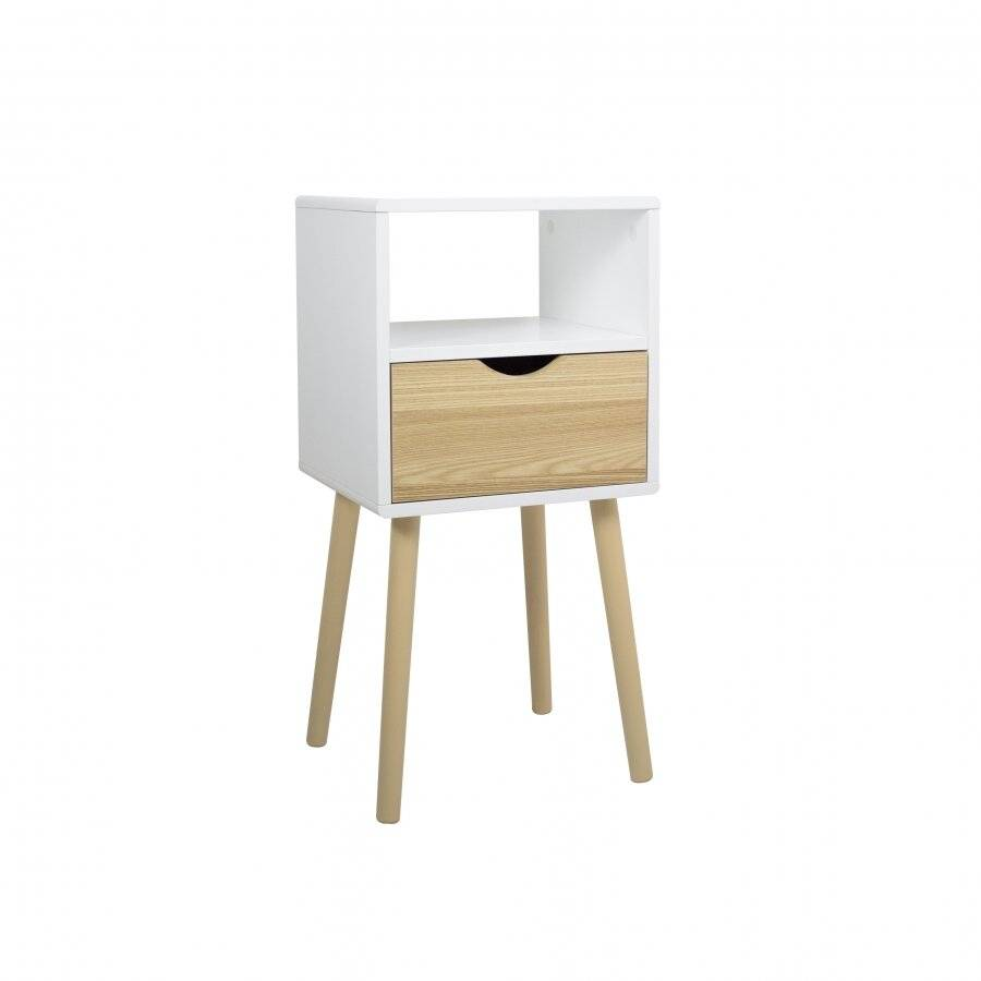 Woodluv MDF Modern Drawer Bedside Table, Wood White