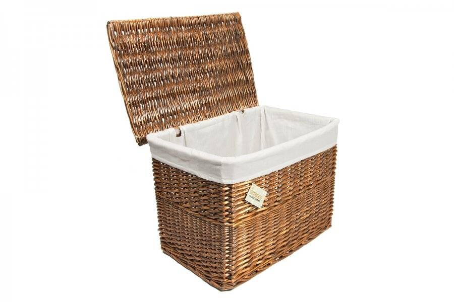 Woodluv Medium Brown Wicker Storage Trunk With Lid & Removable Cloth Lining