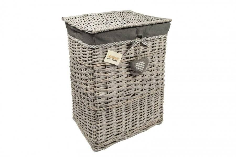 Woodluv Medium Rectangular Wicker Laundry Basket With Lining - Grey