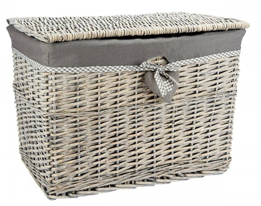 Woodluv Medium Grey Rectangular Wicker Storage Trunk With Lining