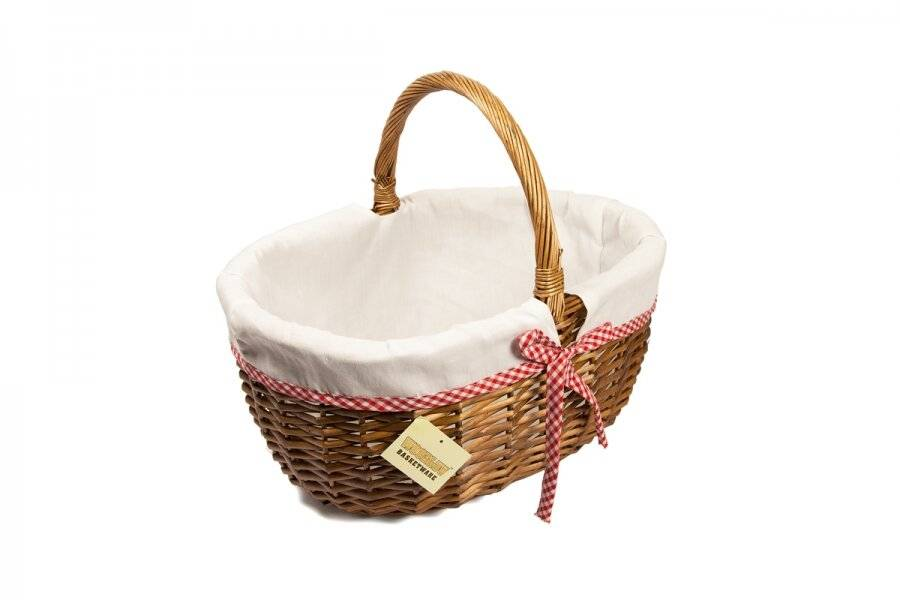 Woodluv Medium Oval Wicker Storage Basket With Lining & Long Handle-Brown