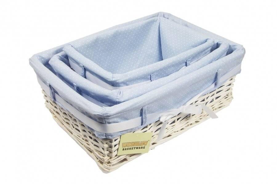 Woodluv Medium White Willow Basket With Blue Dot Lining & Ribbon