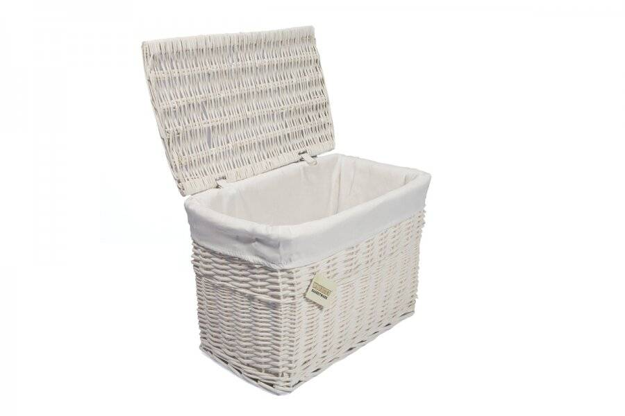 Woodluv Wicker Lined Storage Trunk With Lid, Medium - White