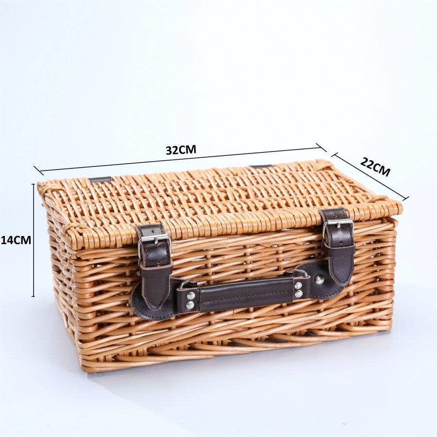 Woodluv Medium Wicker Storage Basket With Faux Leather Strap, Natural