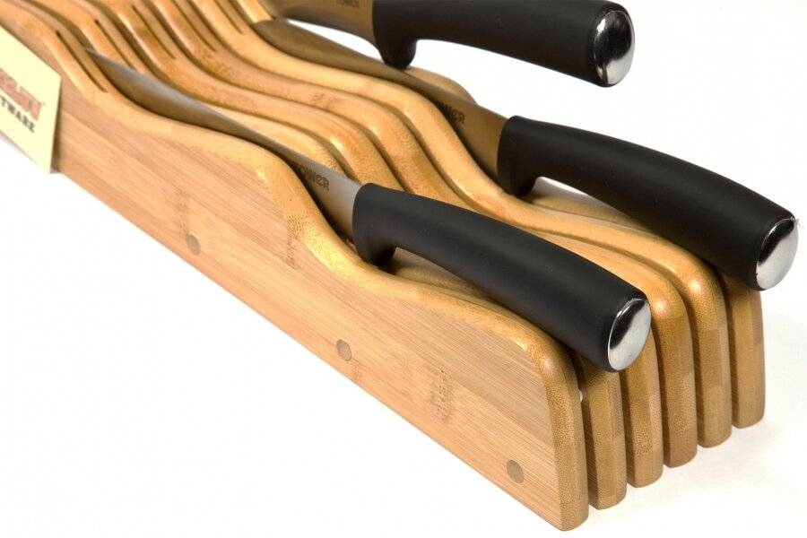 Woodluv Meritorious Bamboo In Drawer Knife Holder - Natural
