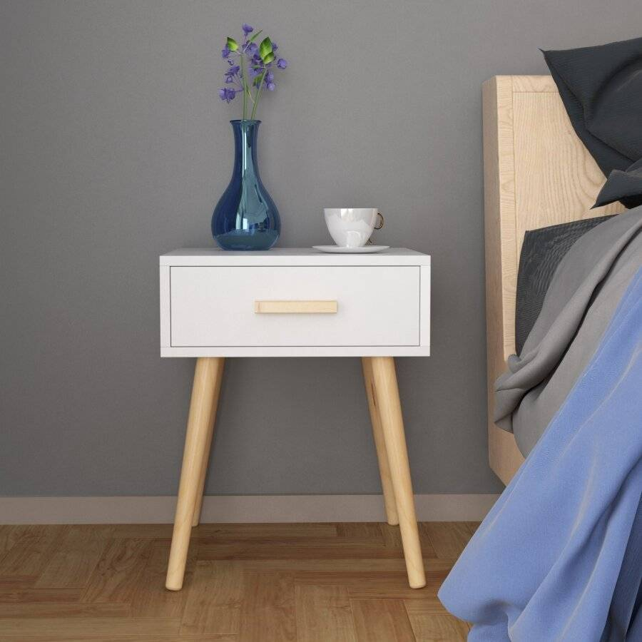 Woodluv Modern Drawer Bedside MDF Storage Unit With 4 Wooden Legs
