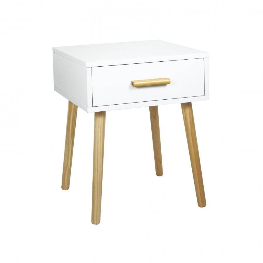 Woodluv Modern Drawer Bedside MDF Storage Unit With 4 Wooden Legs
