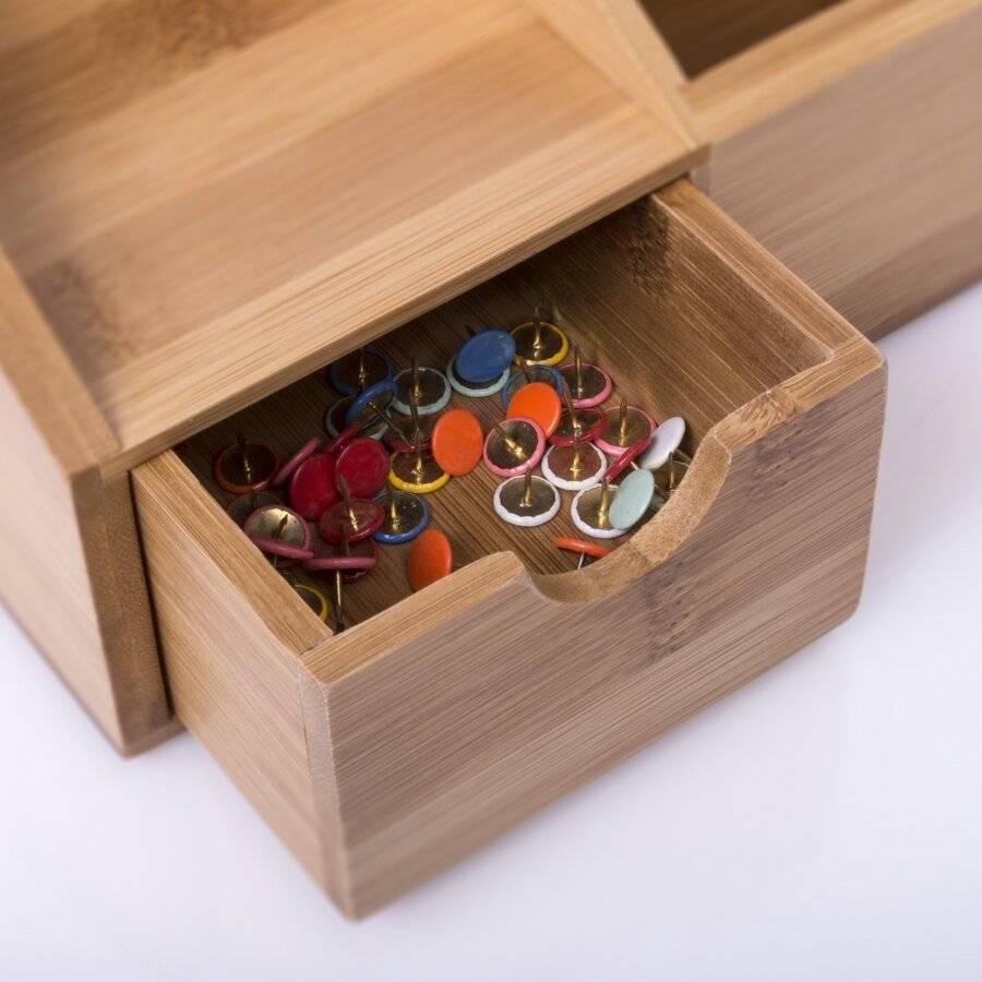 Woodluv Multifunctional Bamboo Desk Stationery Organizer