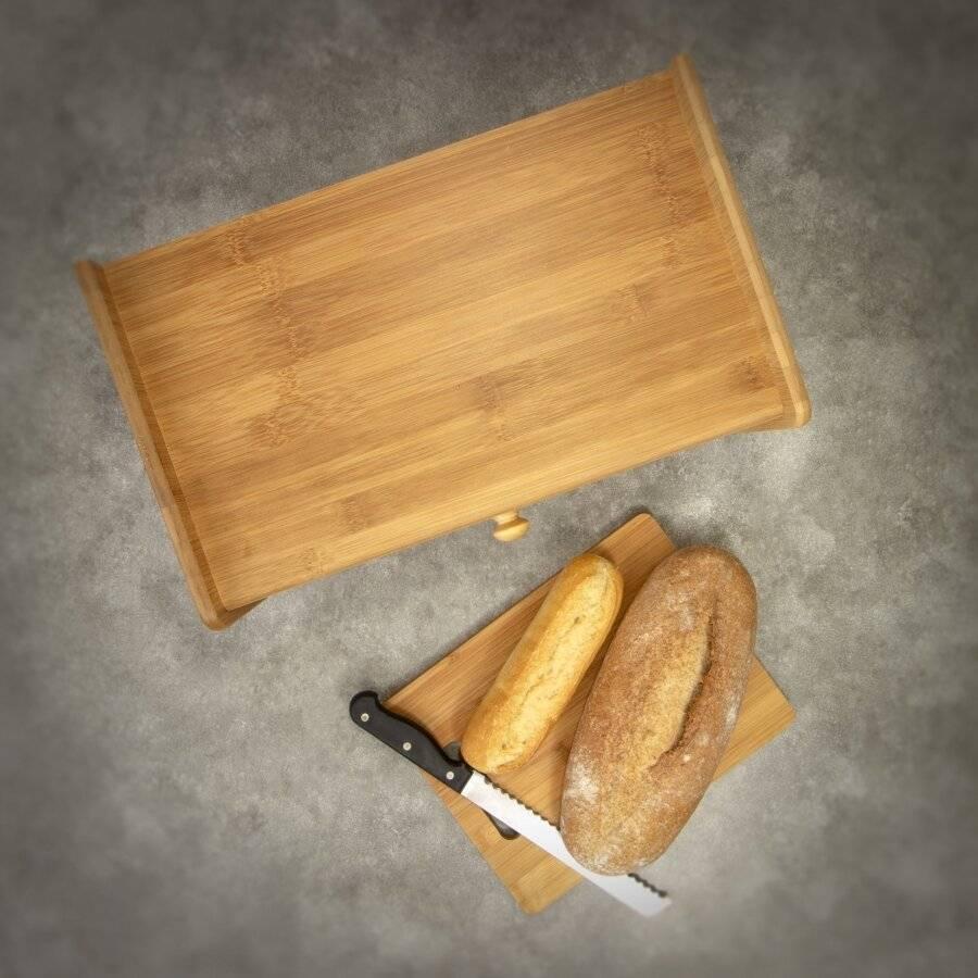 Elegant Front Drop Down Lid Natural Bamboo Bread Storage Bin