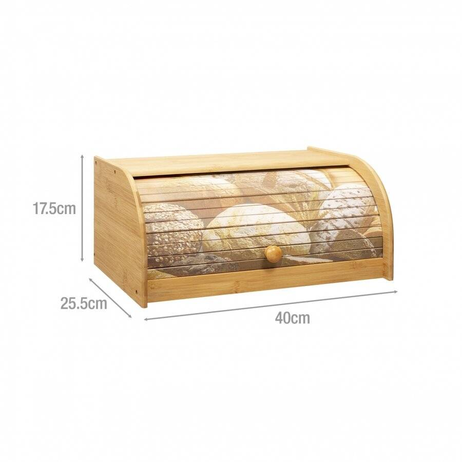 Natural Bamboo Kitchen Bread Bin With Printed Roll Top