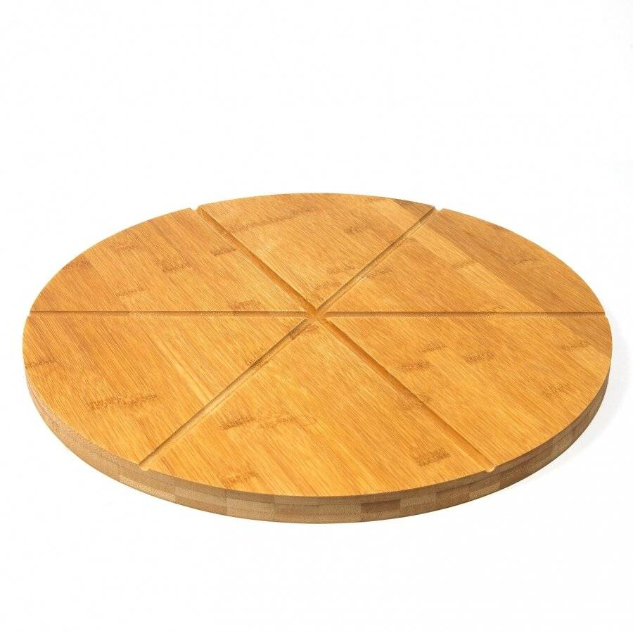 Woodluv Natural Bamboo Pizza Cutting Board With 6 Grooves - 15.7""