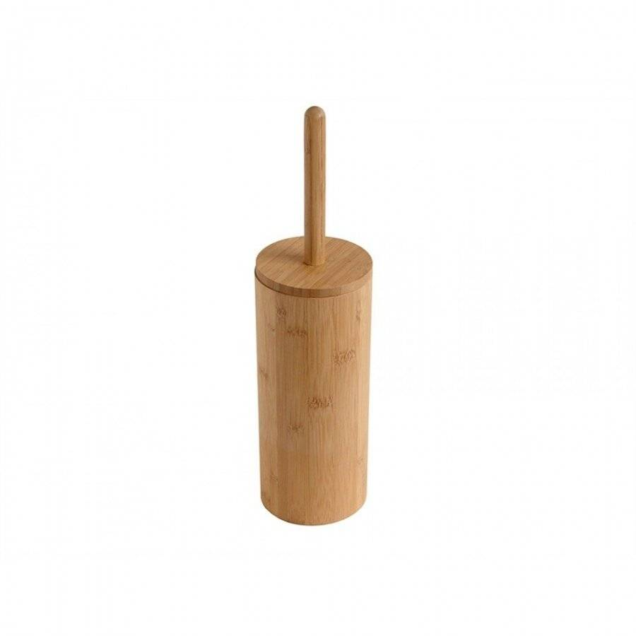 Woodluv Natural Bamboo Wood Toilet Brush and Holder- Round