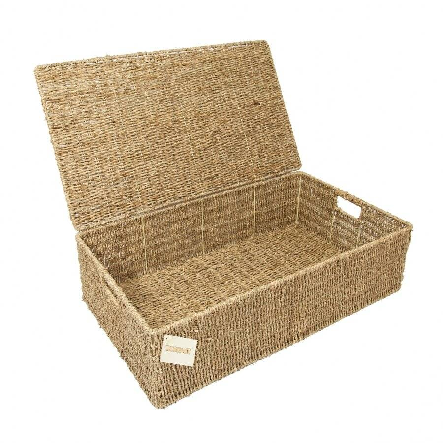 Woodluv Handwoven Seagrass Under Bed Storage Chest - Extra Large