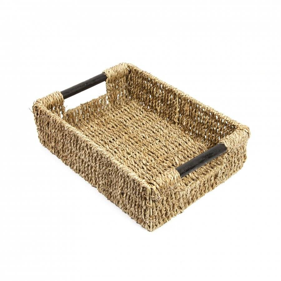 Woodluv Natural Seagrass Storage Basket With Handle, Medium