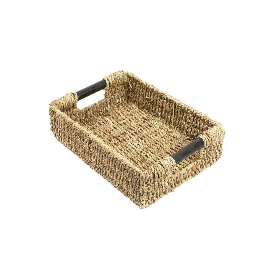 Woodluv Natural Seagrass Storage Basket With Wooden Handles, Small