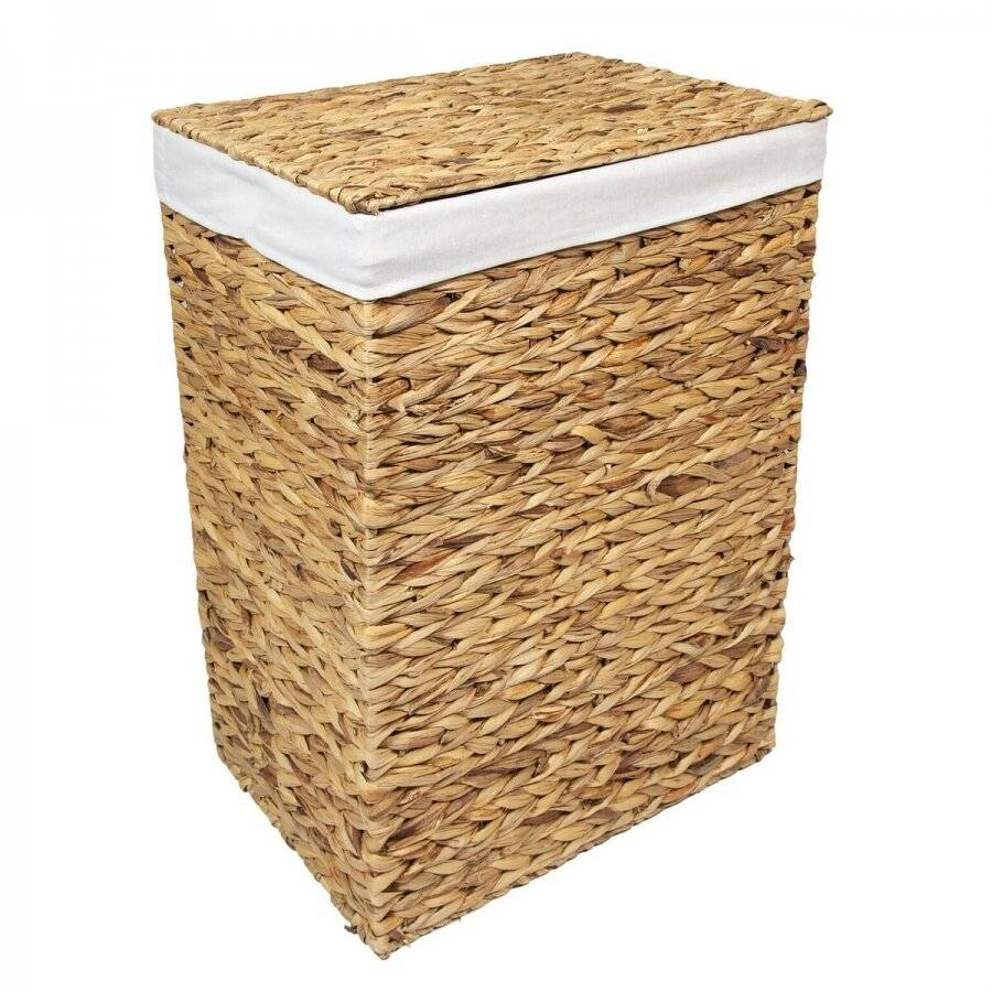 Woodluv Natural Water Haycinth Laundry Storage Basket With Lining, Large