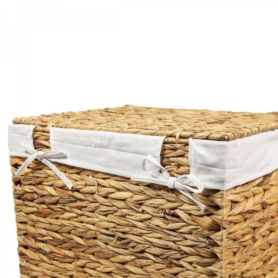 Woodluv Water Hyacinth Laundry Storage Basket With Lining - Medium