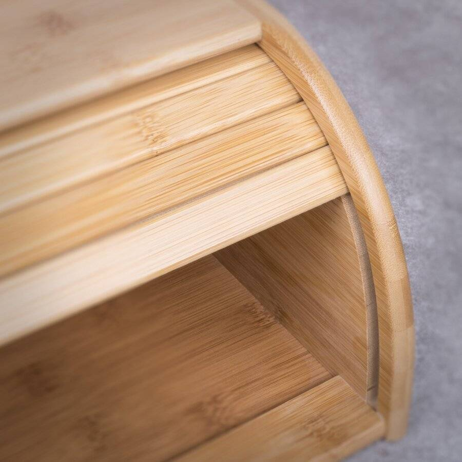 Woodluv Natural Wooden Bamboo Countertop Roll-Top Bread Bin