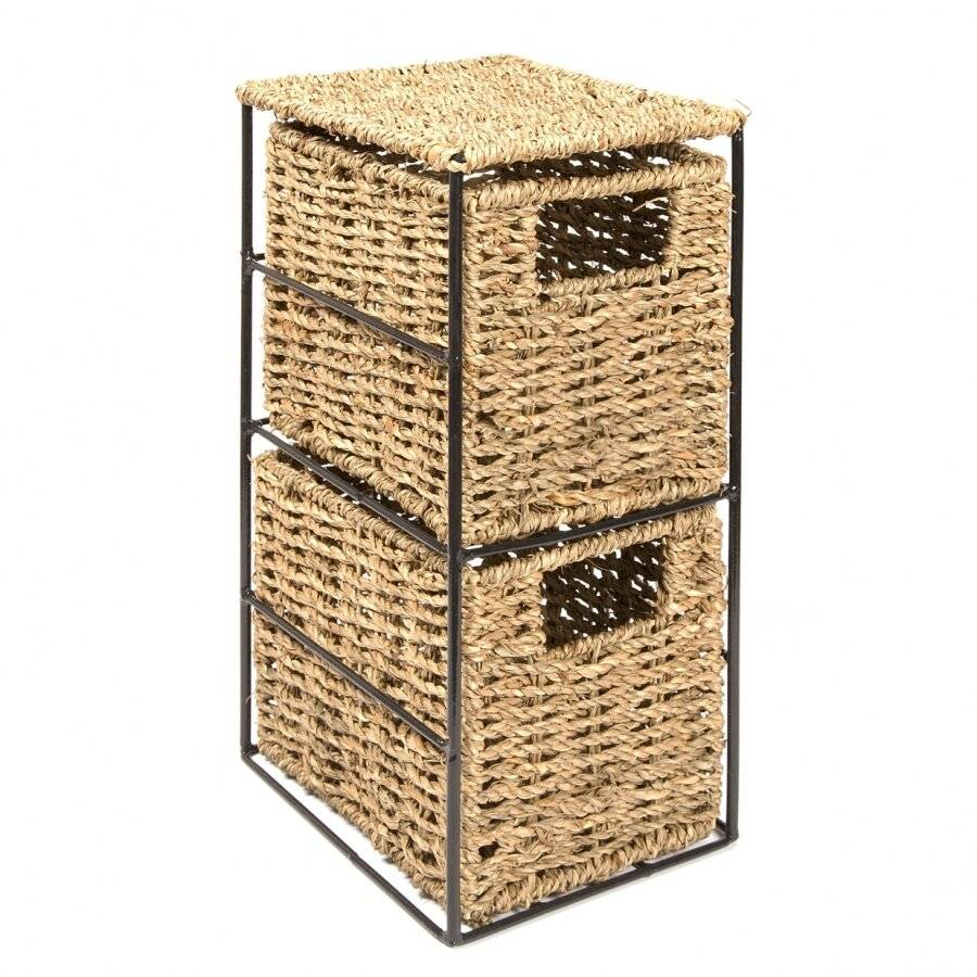 Woodluv Opulent 2 Drawer Natural Seagrass Storage Tower